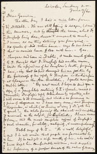 Letter from Samuel May, Jr., Leicester [Mass.], to William Lloyd Garrison, Sunday p.m. June 17 / [18]60