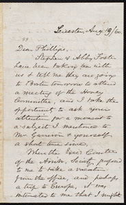Letter from Samuel May, Jr., Leicester [Mass.], to Wendell Phillips, Aug. 19 / [18]60