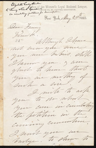Letter from Elizabeth Cady Stanton, New York [N.Y.], May 25th, 1863