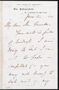 Letter from Theodore Tilton, No.5 Beekman St., New York [N.Y.], to William Lloyd Garrison, June 11, 1863