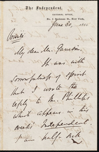Letter from Theodore Tilton, No. 5 Beekman St., New York [N.Y.], to William Lloyd Garrison, June 30, 1864