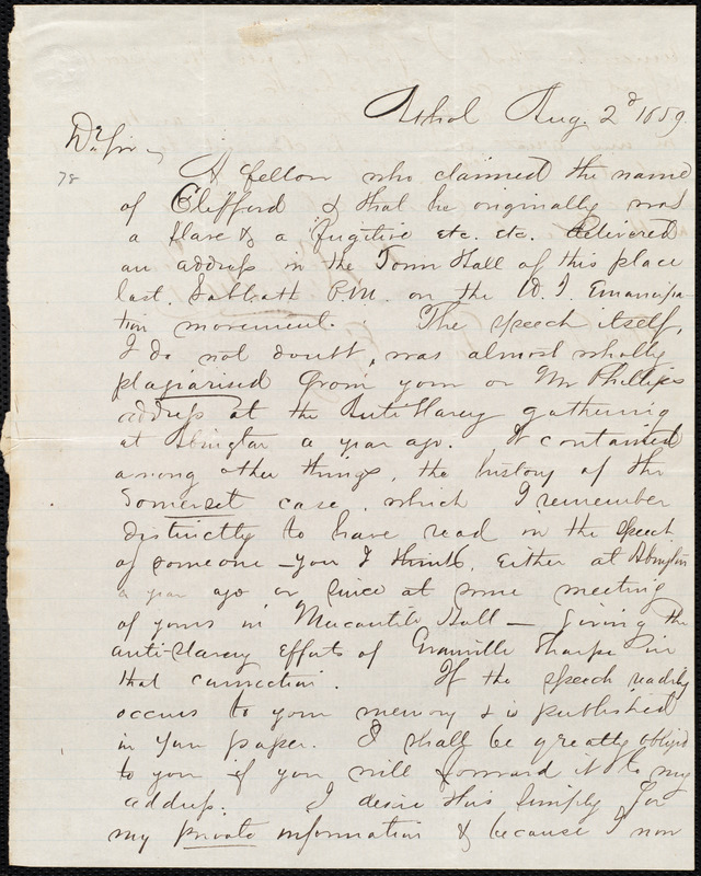 Letter from George Henry Hoyt, Athol, [Mass.], to William Lloyd Garrison, Aug. 2'd, 1859