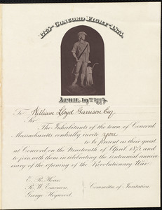 Invitation from Concord, Massachusetts, to William Lloyd Garrison, Nineteenth of April 1875