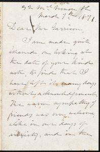 Letter from Julia Ward Howe, 32 Mt. Vernon St[reet], [Boston, Mass.], to William Lloyd Garrison, March 7th, 1871
