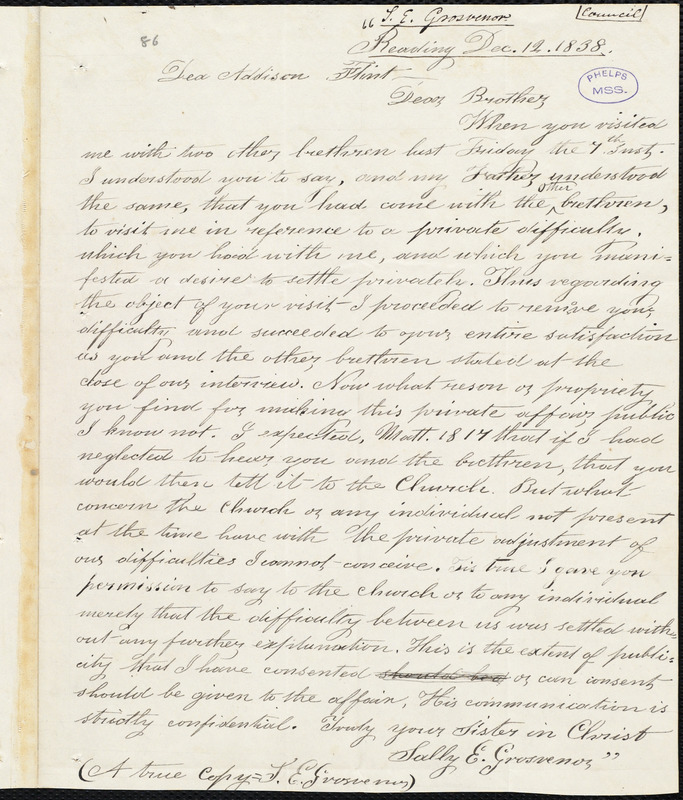 Copies of a letter and a testimony from Sally E. Grosvener, [North Reading], to Amos Augustus Phelps, [March 1839]