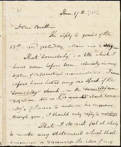 Letter from Asa Theodore Hopkins, Pawtucket, to Amos Augustus Phelps, Jan 17th [1831]