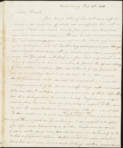 Letter from Elizabeth B. Gillet, Middlebury, to Amos Augustus Phelps, Feb. 18th 1827