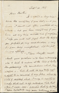 Letter from Asa Theodore Hopkins, [Pawtucket], to Amos Augustus Phelps, Feby 10. 1831