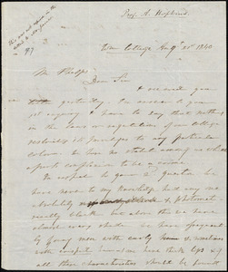 Letter from Albert Hopkins, [Williamstown], to Amos Augustus Phelps, Augt. 21st 1840