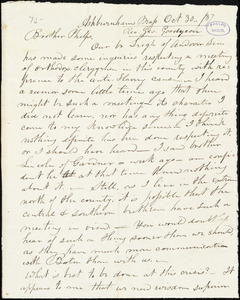 Letter from George Goodyear, Ashburnham, to Amos Augustus Phelps, Oct. 30../37
