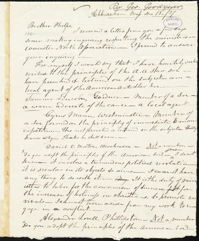 Letter from George Goodyear, Ashburnham, to Amos Augustus Phelps, Dec 18../37