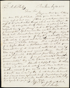 Letter from Simeon Smith Jocelyn, New Haven, to Amos Augustus Phelps, Aug 21. 1833
