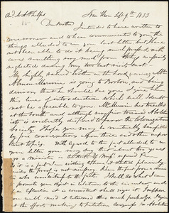 Letter from Simeon Smith Jocelyn, New Haven, to Amos Augustus Phelps, Sept 9th 1833