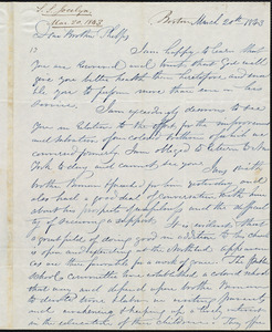 Letter from Simeon Smith Jocelyn, Boston, to Amos Augustus Phelps, March 20th 1843