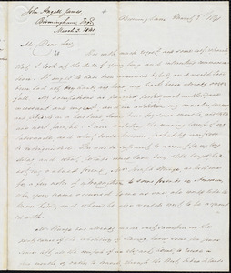 Letter from John Angell James, Birmingham, to Amos Augustus Phelps, March 3. 1841