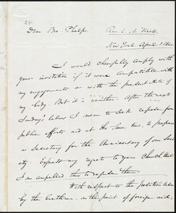 Letter from Edward Norris Kirk, New York, to Amos Augustus Phelps, April 1. 1840