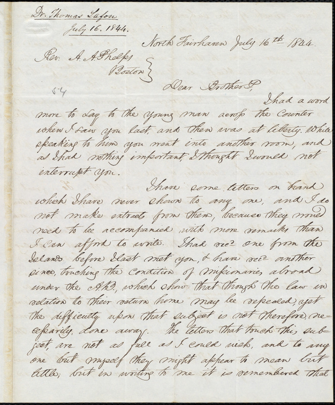 Letter from Thomas Lafon, North Fairhaven, to Amos Augustus Phelps, July 16th 1844
