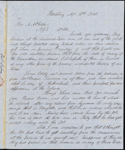 Letter from Thomas Lafon, Fitchburg, to Amos Augustus Phelps, Apl. 18th 1846