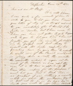 Letter from Nathaniel Loring, Hopkinton, to Amos Augustus Phelps, June 20th 1832