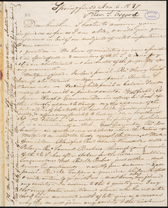 Letter from Samuel Osgood, Springfield, to Amos Augustus Phelps, Nov 6. 1837