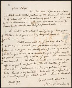 Letter from John Cutler Nichols, [New Haven], to Amos Augustus Phelps, April 19th [1830]