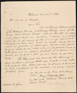 Letter from Maine Anti-slavery Society, Portland, to Portland Female Anti-Slavery Society, March 7. 1834