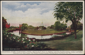 Bushnell Park, Hartford, Conn. - Showing the Y.M.C.A. building, at the left, Ford Street Bridge, Soldiers' and Sailors' Memorial Arch, State Capitol, the Terrace, Corning Fountain, Stepping Stones, Park River, etc., etc.
