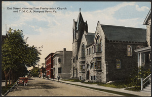 32nd Street, showing First Presbyterian Church and Y.M.C.A. Newport News, Va.