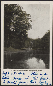 A lake in Forest Park, Springfield, Mass.