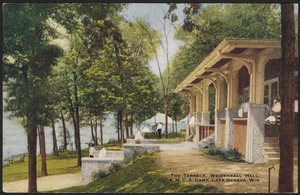 The terrace, Weidensall Hall. Y.M.C.A. Camp, Lake Geneva, Wis.