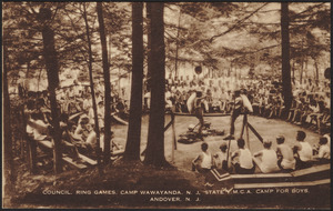 Council. Ring games. Camp Wawayand, N.J. State Y.M.C.A. Camp for Boys, Andover, N.J.