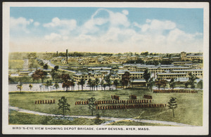 Bird's-eye view showing Depot Brigade, Camp Devens. Ayer, Mass.