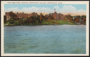 View from pond, showing Springfield College, Springfield, Mass.