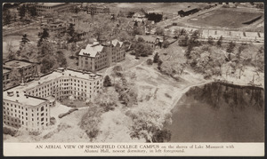 An aerial view of Springfield College Campus on the shores of Lake Massasoit with Alumni Hall, newest dormitory, in left foreground