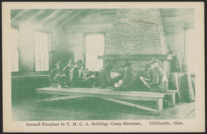 Around fireplace in Y.M.C.A. building - Camp Sherman, Chillicothe, Ohio