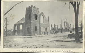 Bellingham Methodist Church and old high school, Chelsea Mass