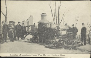 Remains of abandoned Lynn fire engine, Chelsea, Mass.