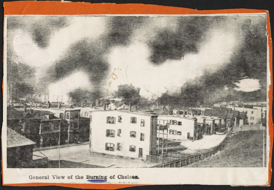 General view of the burning of Chelsea