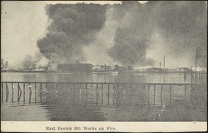 East Boston Oil Works on fire
