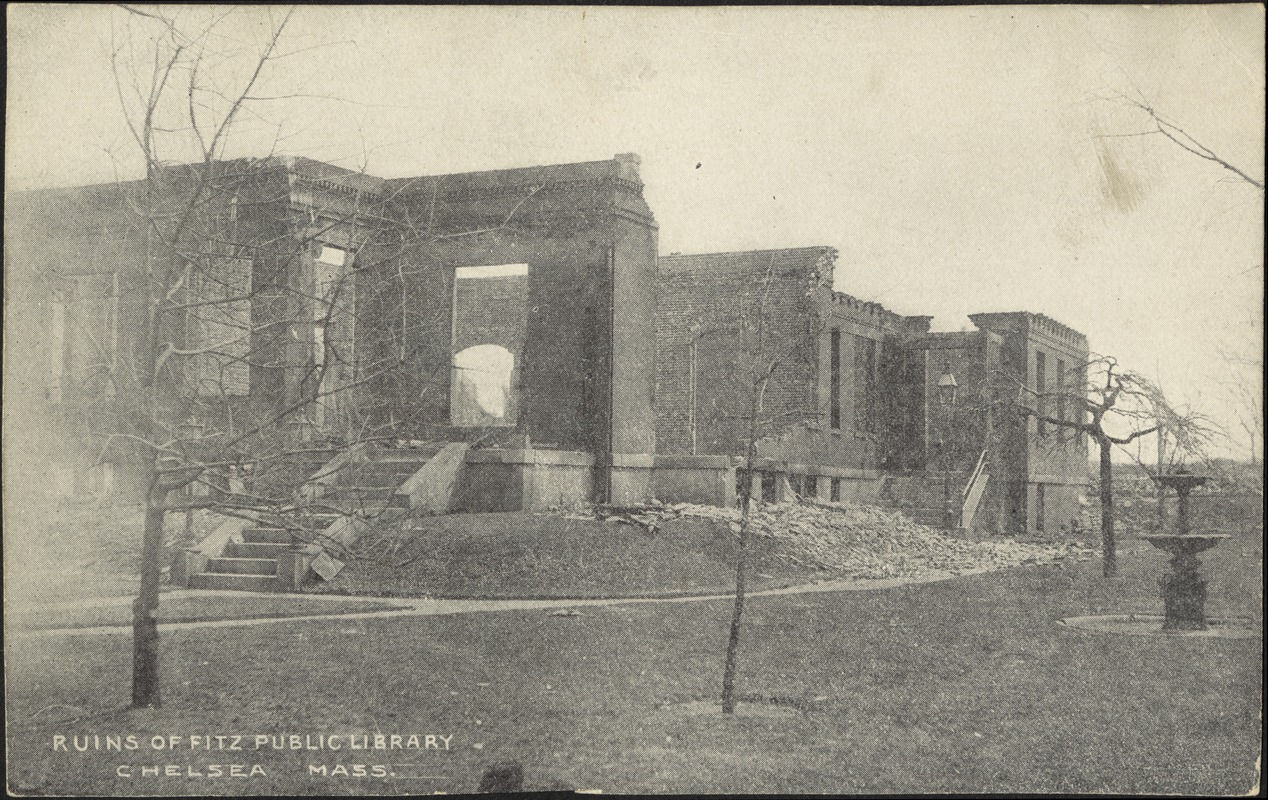 Ruins of Fitz Public Library, Chelsea Mass.