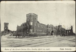 Ruins of the Great Chelsea Fire, Sunday April 12, 1908. State Armory
