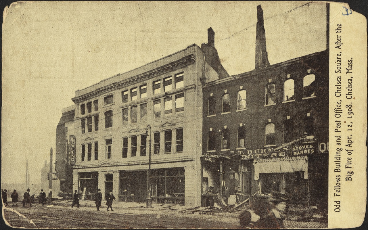 Odd Fellows building and post office, Chelsea Square. After the big fire of Apr. 12, 1908. Chelsea Mass.