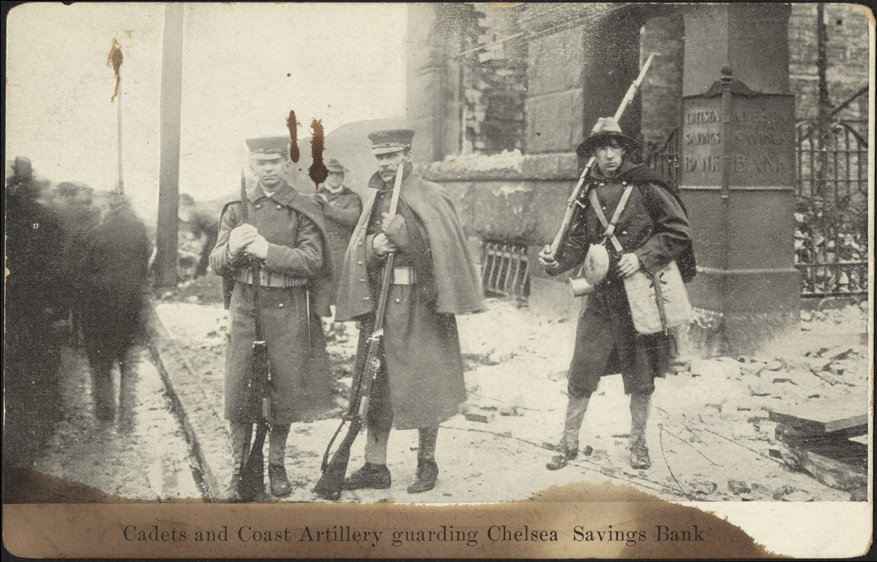 Cadets and coast artillery guarding Chelsea Savings Bank