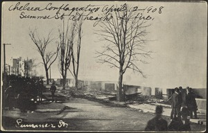 Chelsea conflagration April 12 1908. Summer St at height of fire. Summer St.