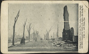 Looking up Chestnut Street from Third, showing Universalist Church and Central Congregational Church in the distance. After the big fire of Apr. 12, 1908. Chelsea, Mass.