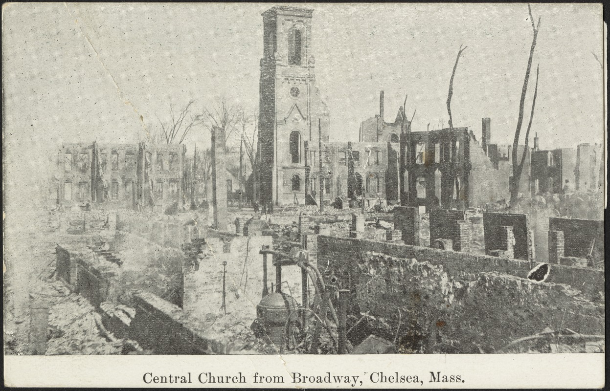 Central Church from Broadway, Chelsea Mass.