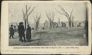 Looking down Everett Ave. from Chestnut Street. After the big fire of Apr. 12, 1908. Chelsea, Mass.