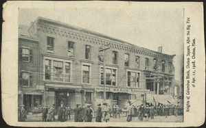 Knights of Columbus Block, Chelsea Square, after the big fire of Apr. 12, 1908. Chelsea, Mass.