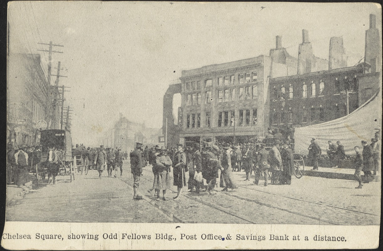 Chelsea Square, showing Odd Fellows bldg., post office & savings bank at a distance