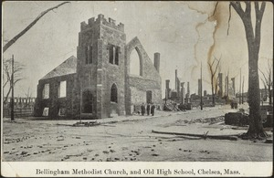 Bellingham Methodist Church, and old high school, Chelsea, Mass.